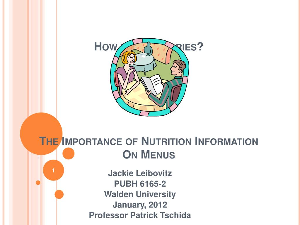 how many calories the importance of nutrition information on menus l.