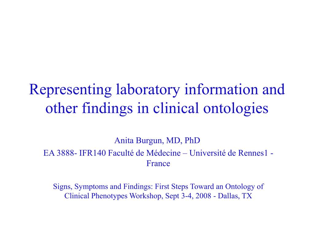 representing laboratory information and other findings in clinical ontologies l.