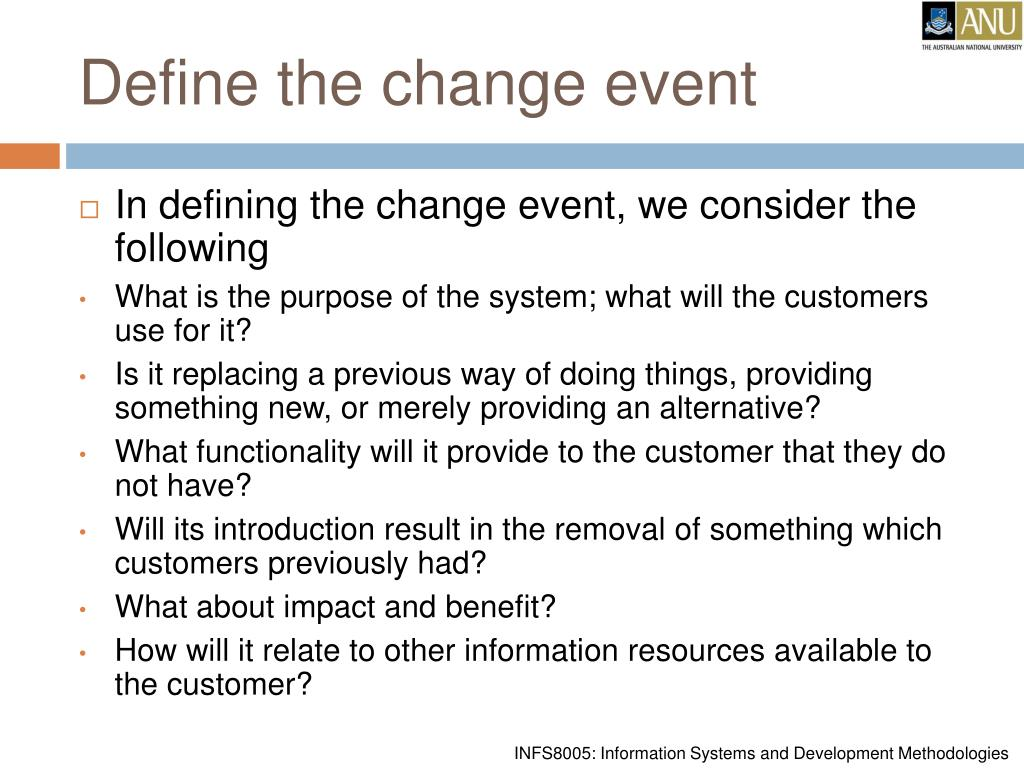 Define the change event