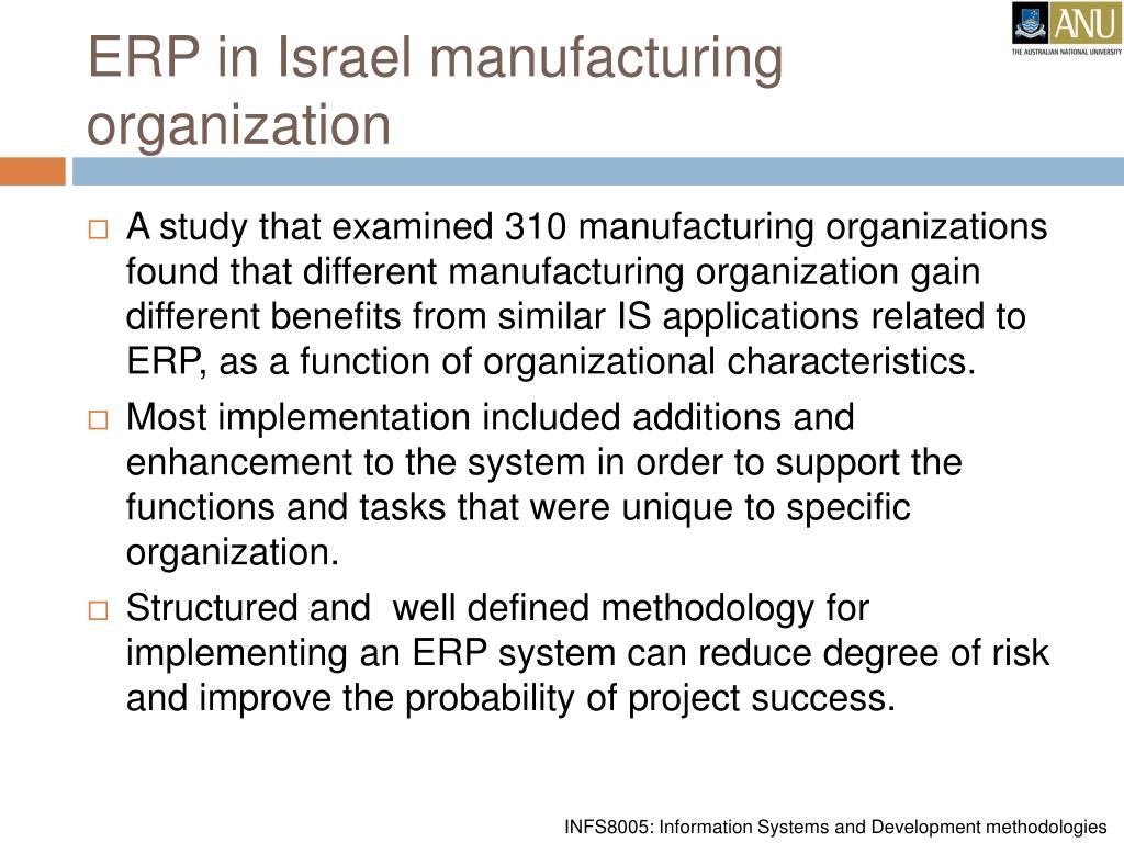 ERP in Israel manufacturing organization