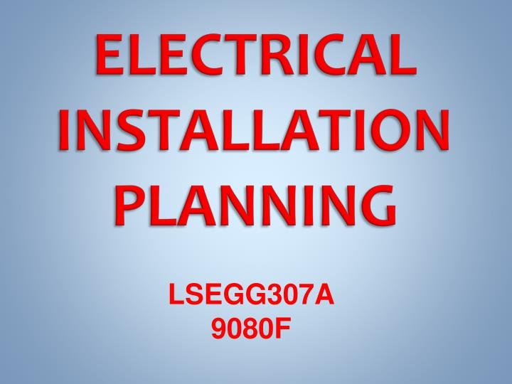 electrical installation planning n.