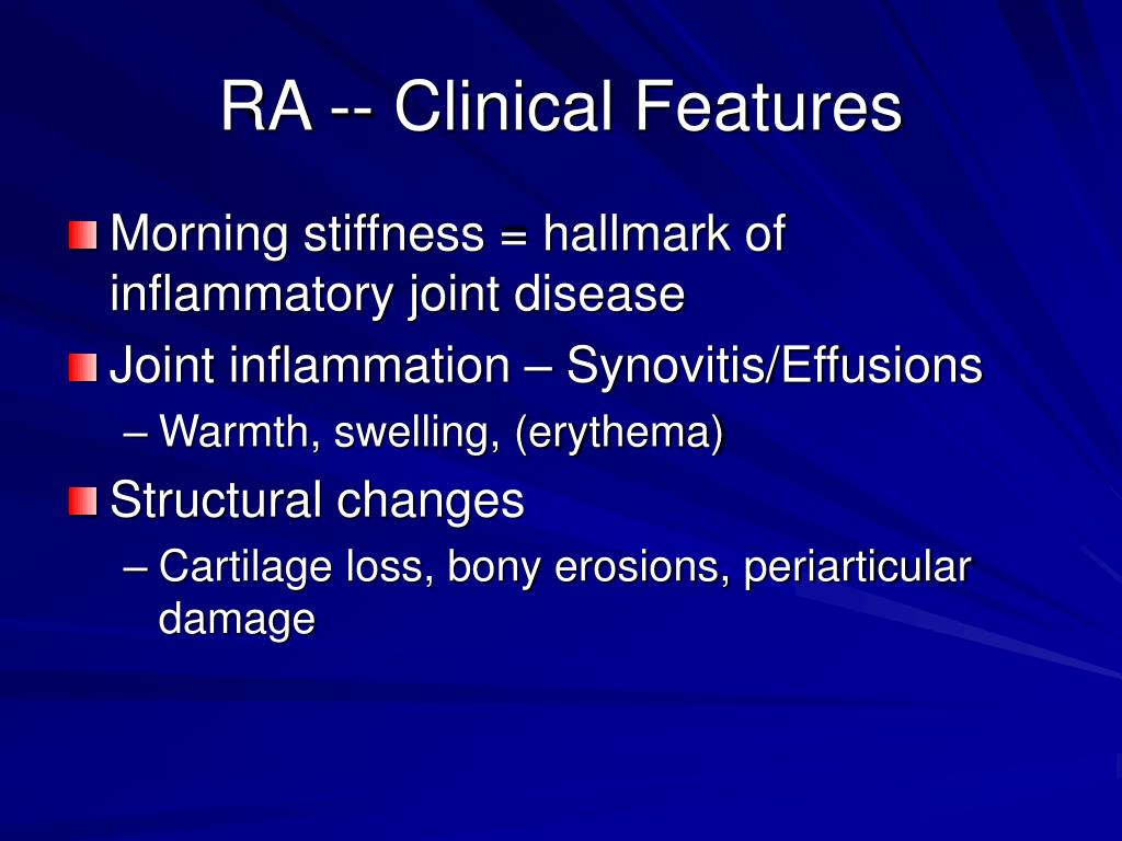 RA -- Clinical Features