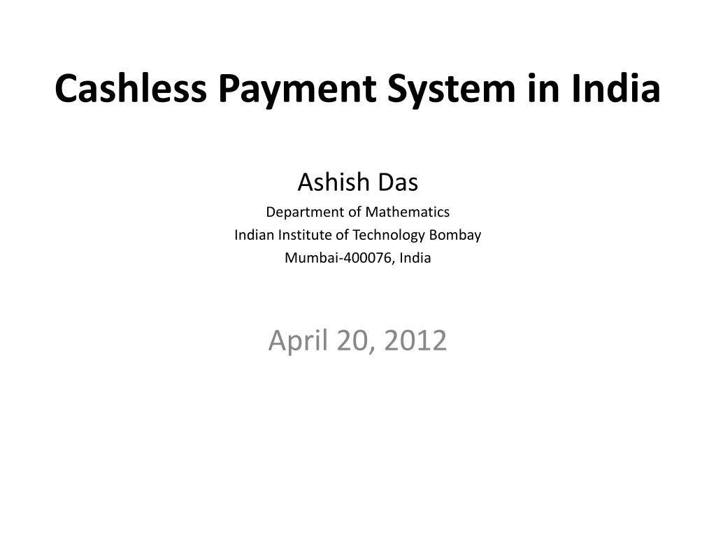 cashless payment system in india l.