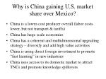 why is china gaining u s market share over mexico