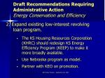 draft recommendations requiring administrative action energy conservation and efficiency12