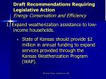 draft recommendations requiring legislative action energy conservation and efficiency