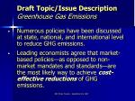 draft topic issue description greenhouse gas emissions