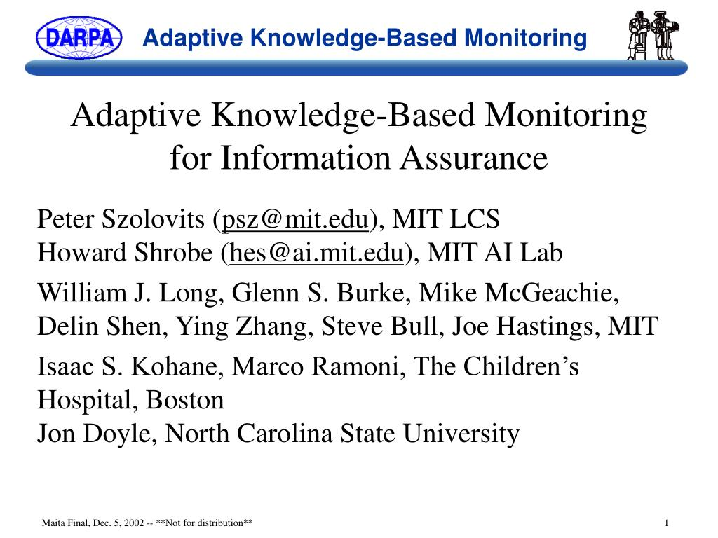 adaptive knowledge based monitoring for information assurance l.