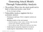 generating attack models through vulnerability analysis