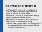 the evolution of behavior