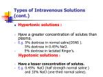 types of intravenous solutions cont