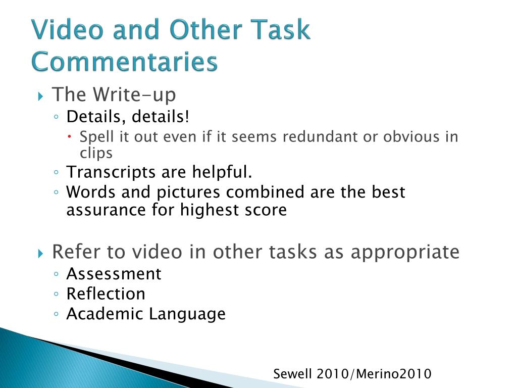 Video and Other Task Commentaries