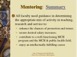 mentoring summary