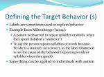 defining the target behavior s15