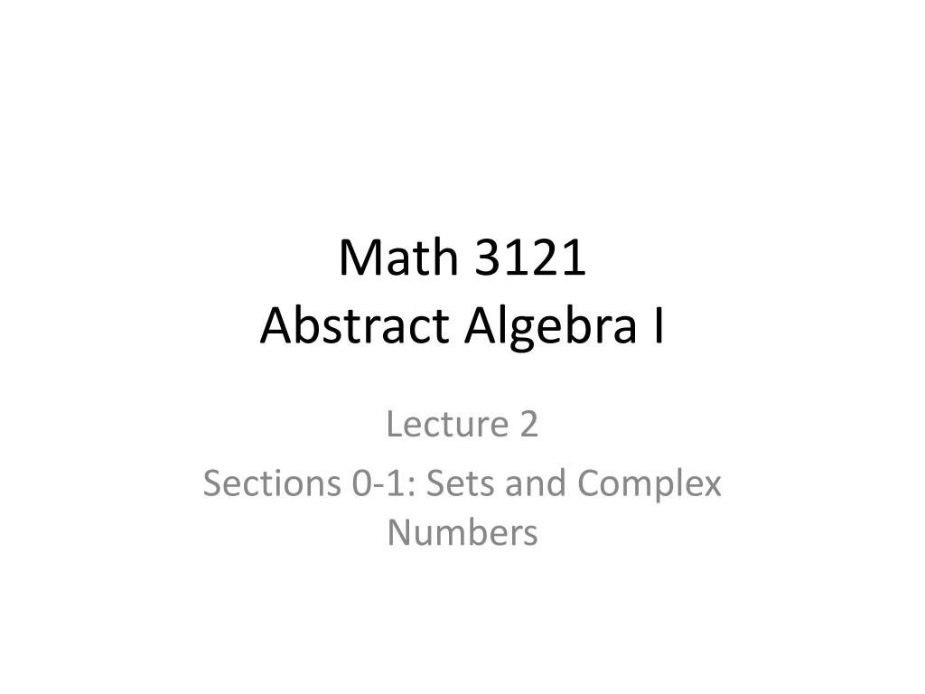 math 3121 abstract algebra i l.