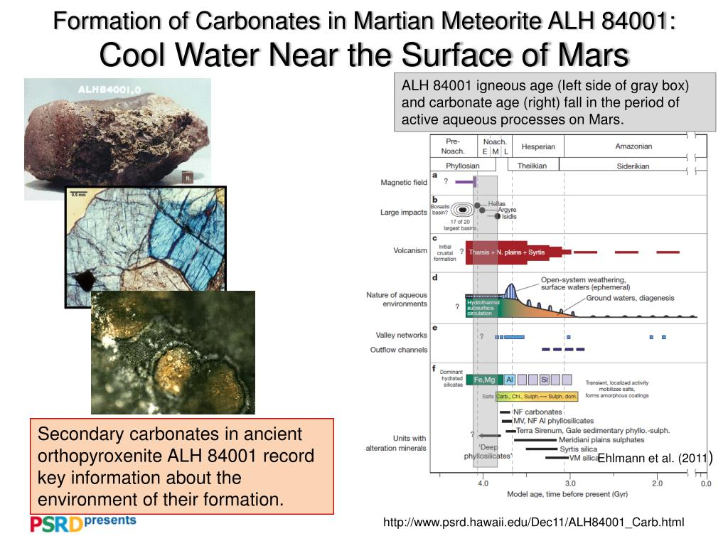 formation of carbonates in martian meteorite alh 84001 cool water near the surface of mars l.