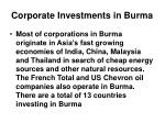 corporate investments in burma