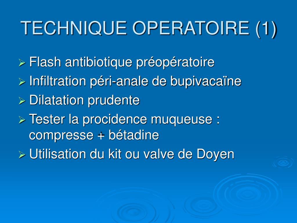 TECHNIQUE OPERATOIRE (1)