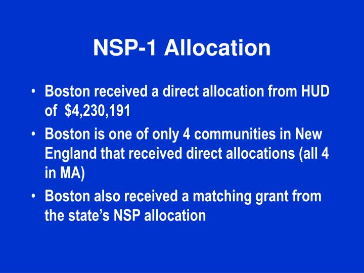 NSP-1 Allocation