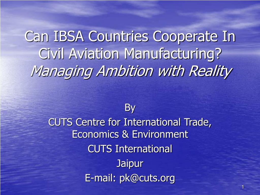 can ibsa countries cooperate in civil aviation manufacturing managing ambition with reality l.