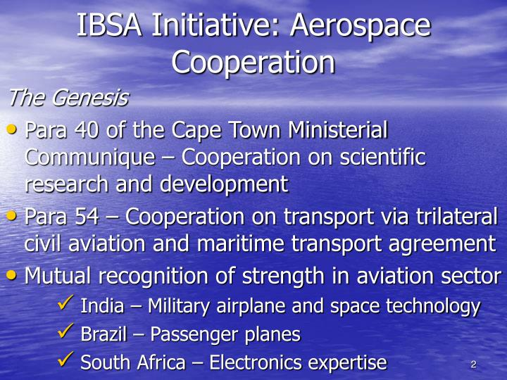 Ibsa initiative aerospace cooperation
