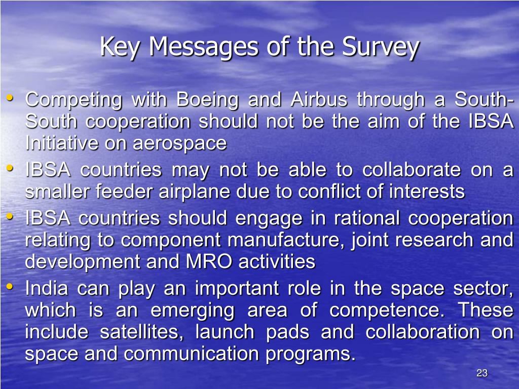 Key Messages of the Survey