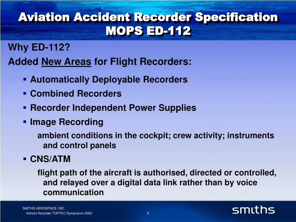 Aviation Accident Recorder Specification