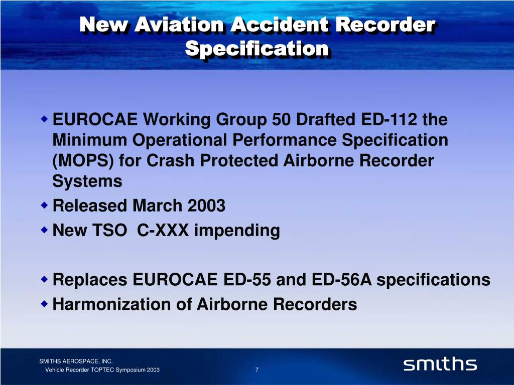 New Aviation Accident Recorder Specification