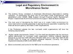 legal and regulatory environment in microfinance sector
