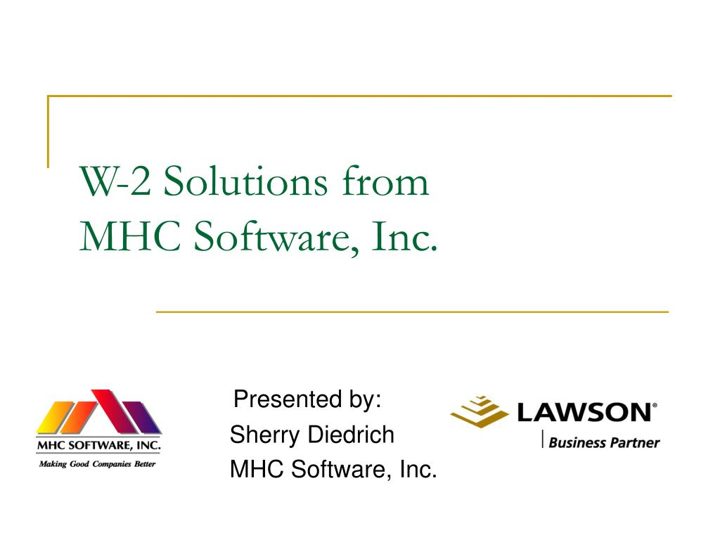 w 2 solutions from mhc software inc l.