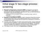 initial stage fir two stage process screening