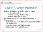section 4 oath or declaration