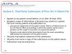 section 6 third party submission of prior art in patent file