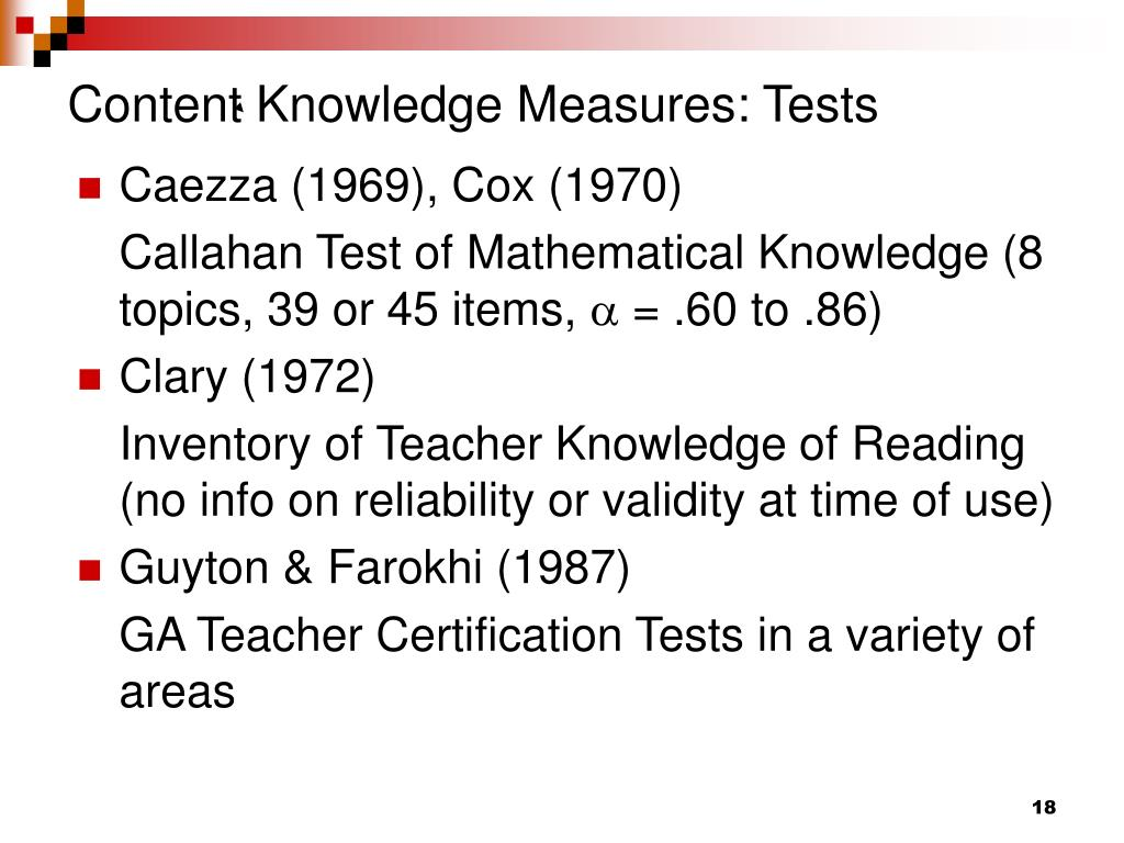 Content Knowledge Measures: Tests