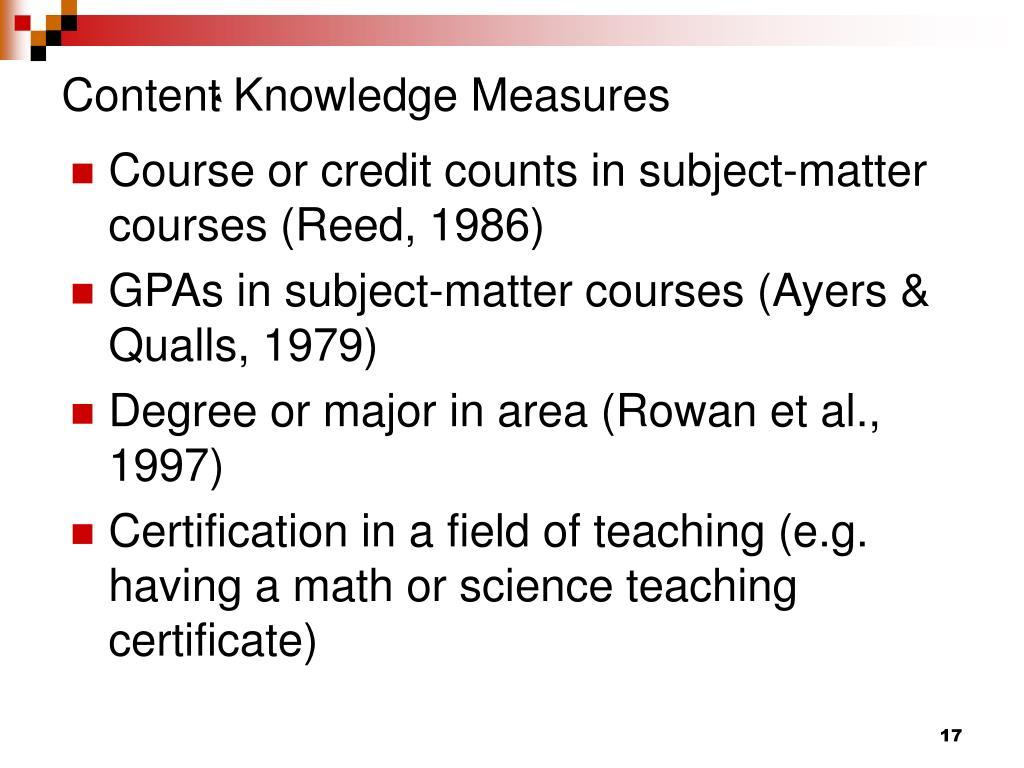Content Knowledge Measures