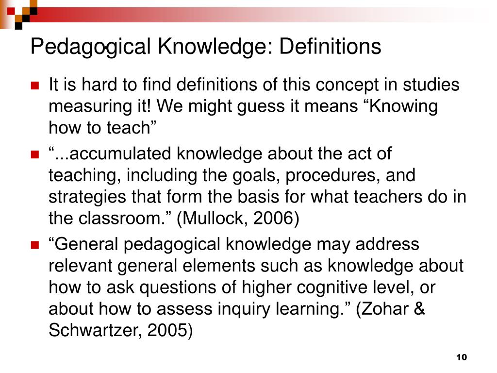 Pedagogical Knowledge: Definitions