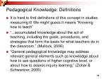 pedagogical knowledge definitions