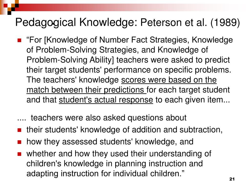 Pedagogical Knowledge:
