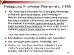 pedagogical knowledge peterson et al 1989