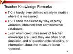 teacher knowledge remarks