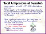 total antiprotons at fermilab