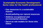 sustainable economic development some roles for the health professional