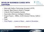 develop business cases with saffron