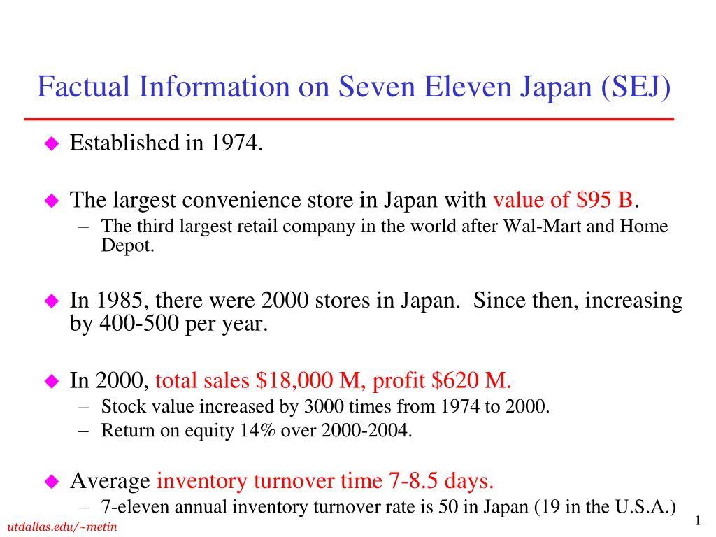 factual information on seven eleven japan sej l.