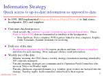 information strategy quick access to up to date information as opposed to data