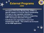 external programs aem