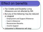 effect on benefits