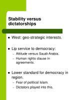 stability versus dictatorships