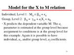 model for the x to m relation