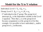 model for the x to y relation